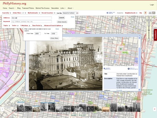 Fig 1: The PhillyHistory.org map-based search page emphasizes the geographic information available for many of the images