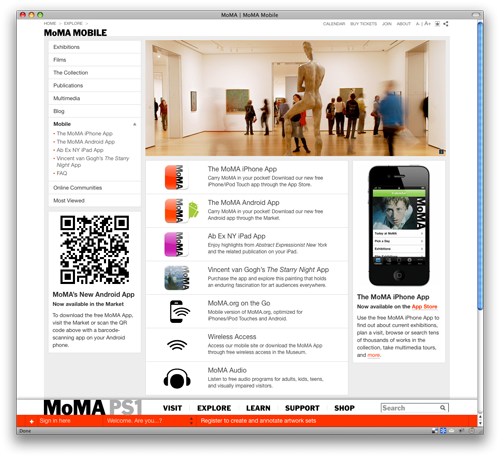 Fig 10: MoMA Mobile page with QR code for downloading the Android app