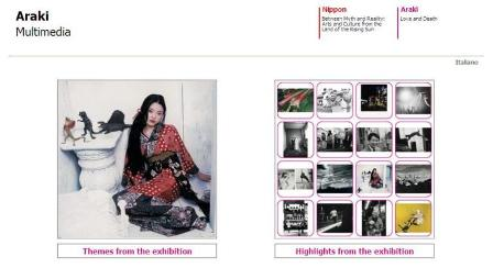 """Fig 1: Nippon Multimedia: the (Web) home page of the section of the exhibition: """"Araki. Love and Death"""""""