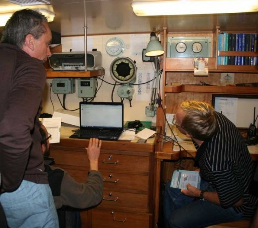 Setting up communications on the ship