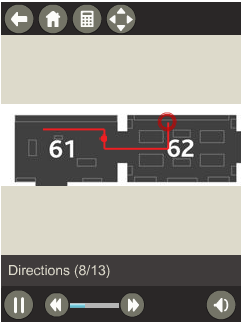 Figure 1: Screenshots of the guide's virtual keypad (1a), zoomed in interactive map with highlighted the location of the objects featured on the guide (1b), and an example of audiovisual directions in the Ancient Egypt guided tour (1c).