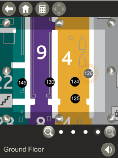 Figure 3: Screenshots of the interactive map's different zooming levels (a, b, c and d). The images also show the use of color to distinguish the different areas of the museum.