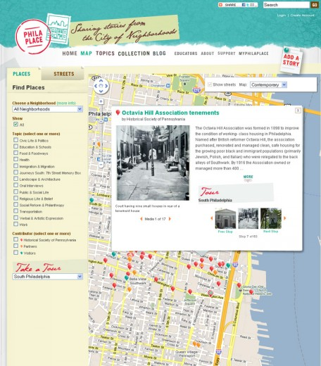 Fig 2: Using the PhilaPlace map feature visitors can jump to neighborhoods, filter story pins by topic and take thematic tours (http://www.philaplace.org/map/)