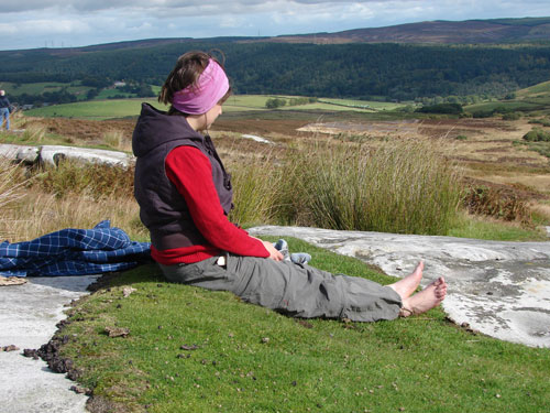 Figure 11. Participant absorbing the surroundings, Lordenshaw site visit (Rothbury, Workshop 3)
