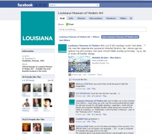 Fig 5: Facebook page of Louisiana Museum of Modern Art