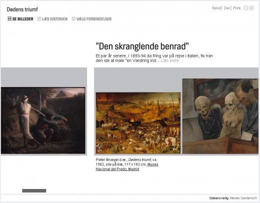 Fig 8: All content from outside SMK is linked to their sources so they are always just one click away. Here, Bruegel's famous painting 'The Triumph of Death' from Prado in Madrid alongside paintings with similar subjects from Danish museums.