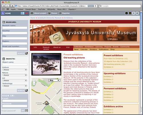 Fig 5: Screenshot presenting the Old Teaching Pictures exhibition (basic view, Version A)