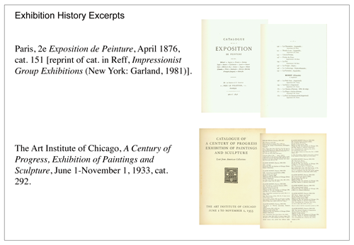 Fig 2: Scans of exhibition catalogues illustrate the exhibition history entries