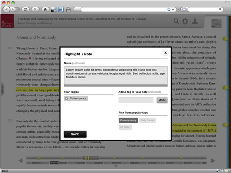 Fig 6: The researcher can highlight and make tagged notes in the text