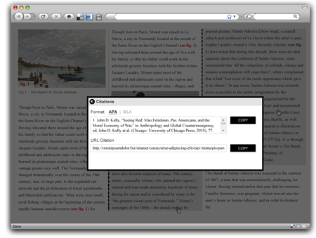 Fig 8: The citation tool allows the researcher to choose a citation style while also adhering to the Art Institute's preferred style