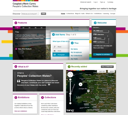 Fig 1: Casgliad y Werin/People's Collection Wales homepage