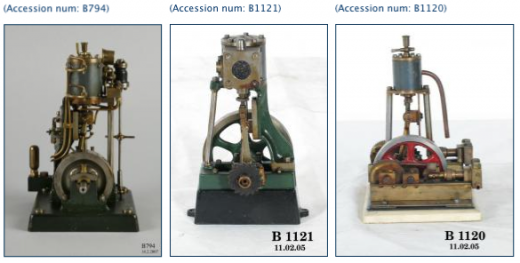 Fig 1: Models of vertical steam engines. Thumbnails under license from the Powerhouse Museum