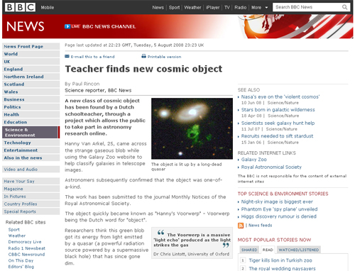 Figure 1: BBC News, 'Teacher finds new cosmic object'