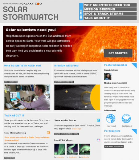 Figure 2: Homepage of the Solar Stormwatch website