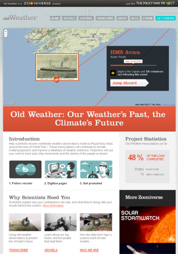 Figure 3: Homepage of the Old Weather website