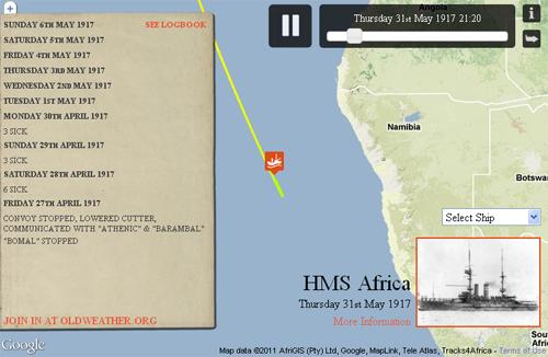 Figure 7: Voyage of HMS Africa