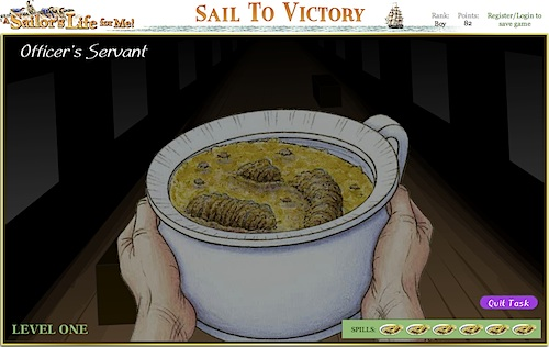 Fig 6: Officer's Servant mini-game in Sail to Victory