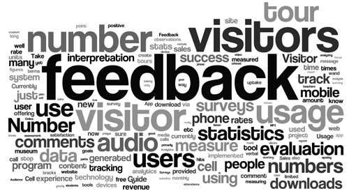 """Fig 10: Tag Cloud generated from response by Institutions that currently use mobile interpretation to the question: """"how does your institution measure the success of its mobile interpretation tool?"""""""